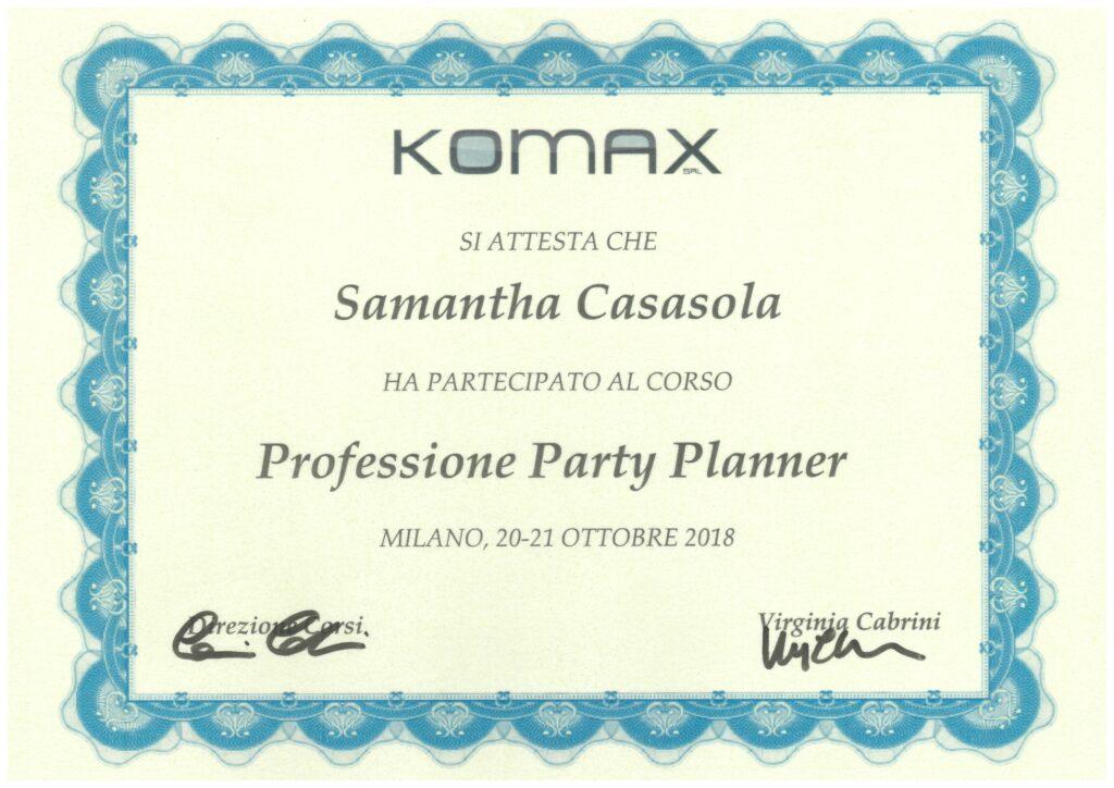 Samantha Casasola attestato Komax